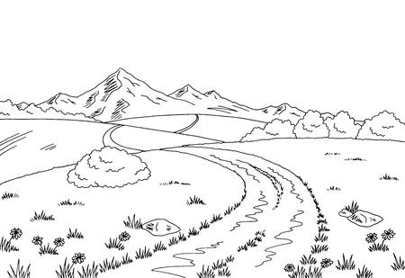 Illustration de croquis rural route graphique noir blanc paysage. Vecteurs