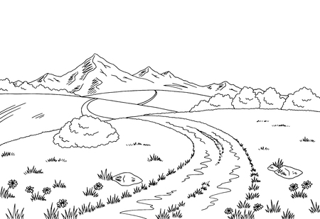 Rural road graphic black white landscape sketch illustration. Фото со стока - 81386883