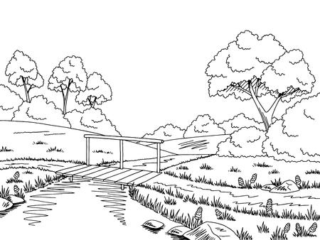 riverside trees: Bridge road graphic black white landscape sketch illustration vector