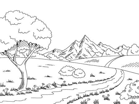 Ländliche Straße Grafik schwarz weiß Landschaft Skizze Illustration Vektor
