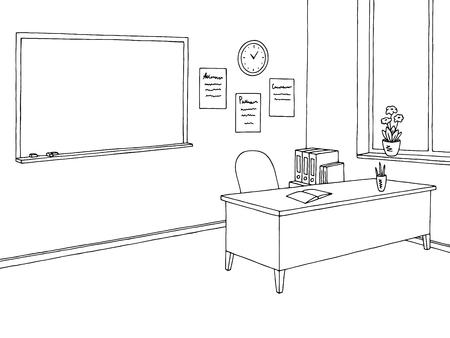 Classroom graphic black and white interior sketch illustration vector Vektorové ilustrace