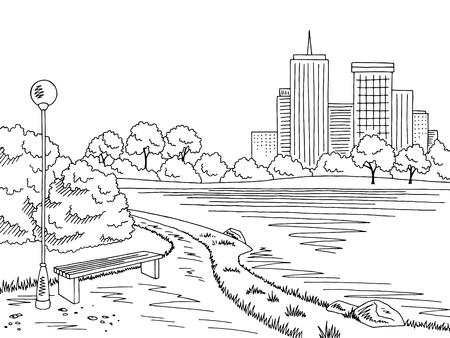 Park lake graphic black white landscape sketch illustration vector 向量圖像