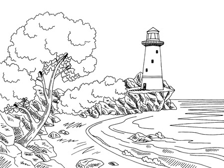 Lighthouse sea coast graphic