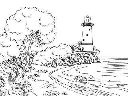 Vuurtoren zee kust grafisch