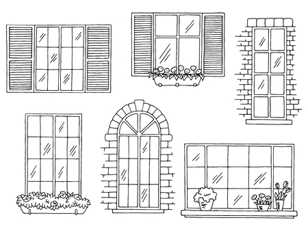 Windows set graphic black and white isolated sketch illustration vector