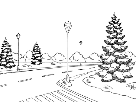 Winter street graphic black and white sketch illustration vector