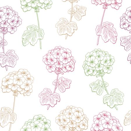 Geranium flower graphic color seamless pattern sketch illustration vector