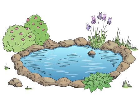 Pond landscape illustration.