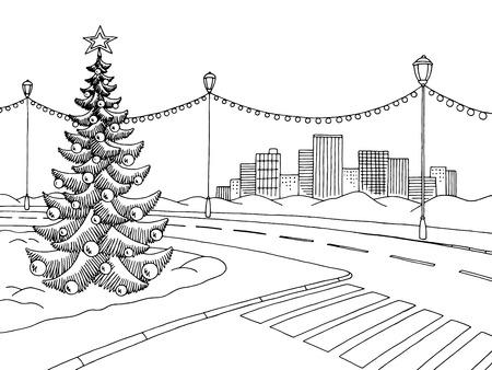Street during winter illustration. Stock Illustratie