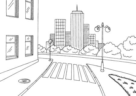 거리 도로 그래픽 흑백 도시 풍경 스케치 그림.