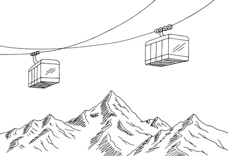 Cable car graphic mountain black white landscape sketch illustration vector