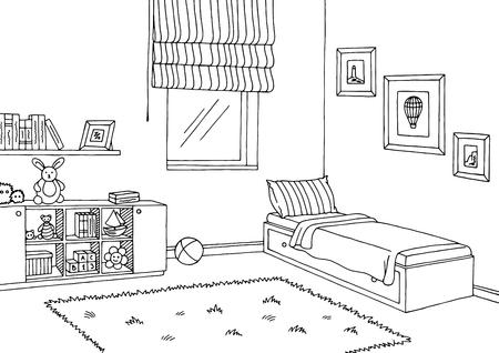 Kinderkamer grafisch zwart wit interieur schets illustratie vector Vector Illustratie
