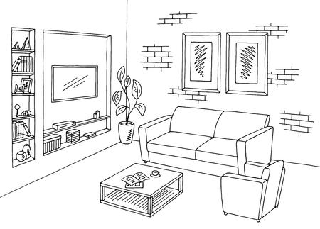 sala de estar gráfico negro el interior blanco ilustración vectorial boceto