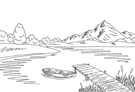 Lake bridge graphic sketch