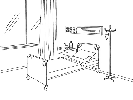 Hospital ward graphic black white interior sketch