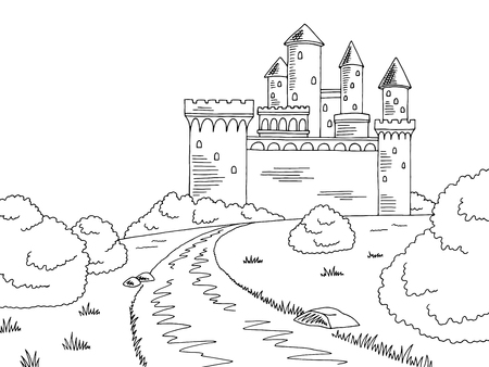 Castle road graphic black and white sketch illustration vector Illustration