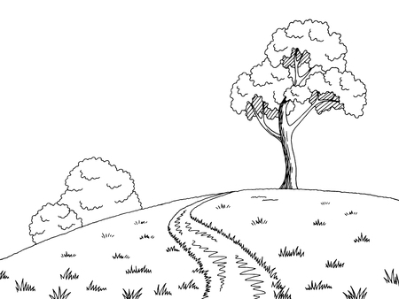 Rural road graphic black white landscape sketch illustration.