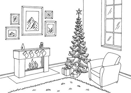 Living room with graphic Christmas tree in black and white interior sketch illustration vector Vectores