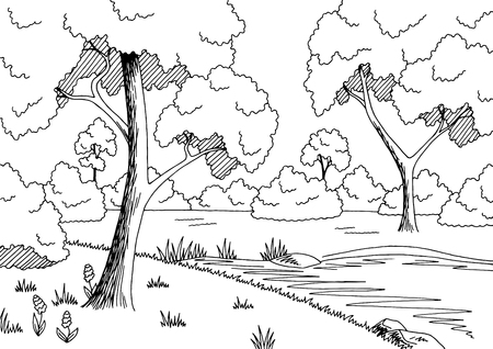 Forest lake graphic black and white landscape sketch illustration vector
