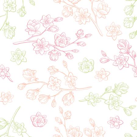 목련 꽃 그래픽 색상 스케치 원활한 패턴 일러스트 벡터
