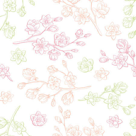 Magnolia flower graphic color sketch seamless pattern illustration vector Illustration