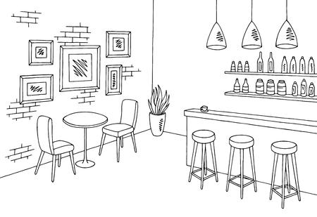 カフェ バー グラフィック ブラック ホワイト インテリア スケッチします。