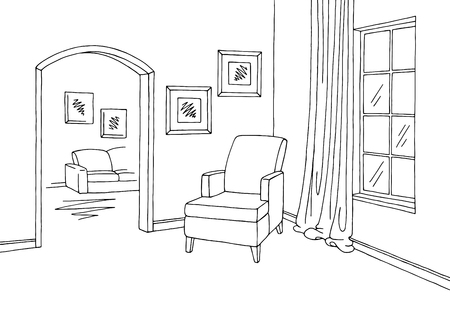 Corridor graphic room black white interior sketch illustration vector Illustration