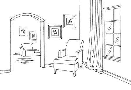 Corridor graphic room black white interior sketch illustration vector Stock Illustratie