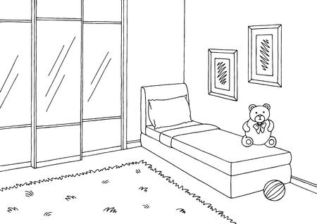 아이 방 그래픽 블랙 화이트 인테리어 스케치 그림. 일러스트