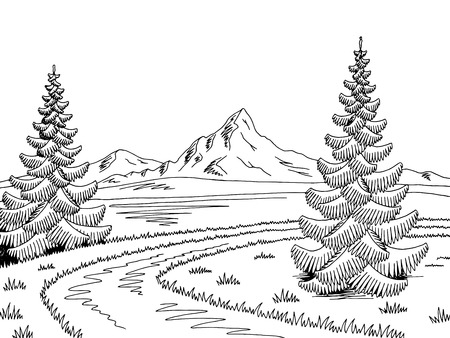 Mountain river graphic black and white landscape sketch