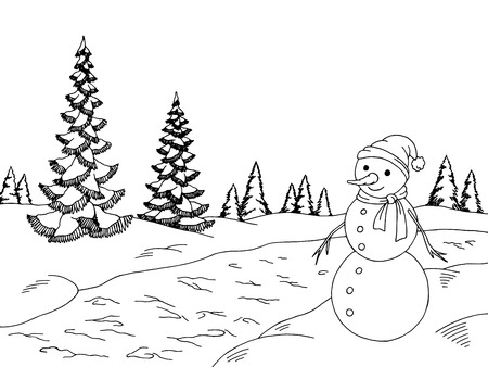 Winter forest graphic snowman black white landscape sketch illustration vector Vettoriali