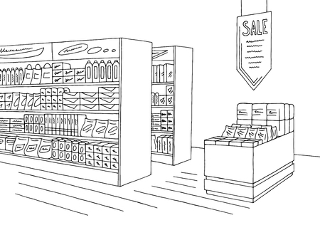 Grocery store shop interior black and white graphic.