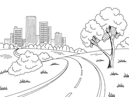 Black and white city landscape sketch illustration.
