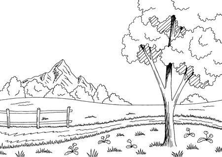 Rural road graphic black white landscape sketch illustration vector