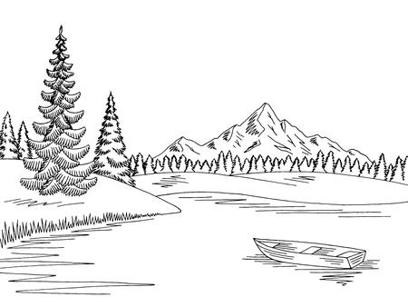Mountain lake graphic black white landscape sketch illustration vector Vector Illustration