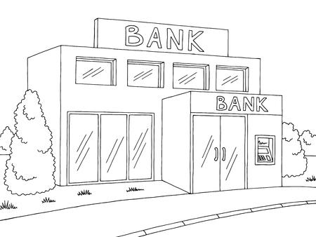 Bank exterior graphic black white sketch illustration vector