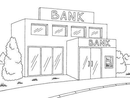 Bank exterior graphic black white sketch illustration vector