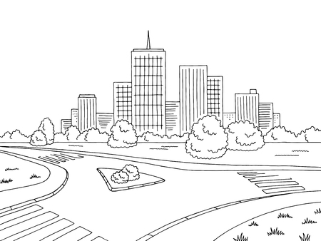 Street road graphic black and white city landscape sketch illustration vector