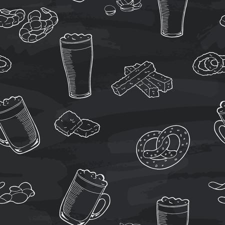 Beer glass graphic blackboard seamless pattern sketch illustration vector
