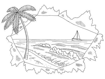 Sea coast paper hole graphic black white landscape sketch illustration