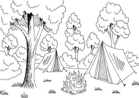 Camping graphique de la forêt Banque d'images - 91273534