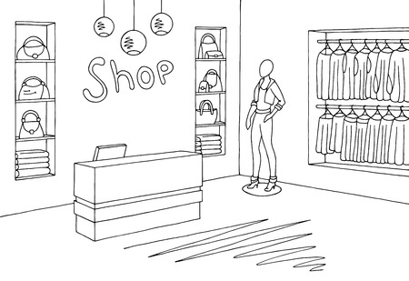 Shop interior illustration.