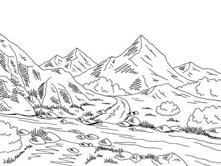 Mountain road graphic, black and white river landscape sketch illustration. Illustration