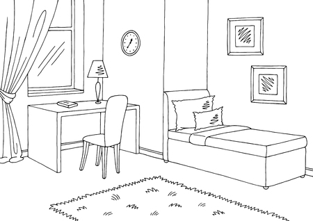 Children room graphic black white interior sketch illustration vector Zdjęcie Seryjne - 92274014