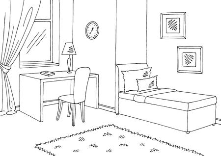 Pokój dziecięcy graficzny czarno białe wnętrze szkic wektor