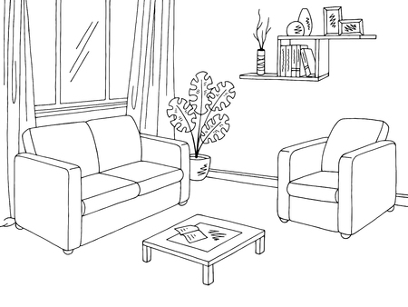 Living room graphic black white interior sketch illustration vector. Ilustração