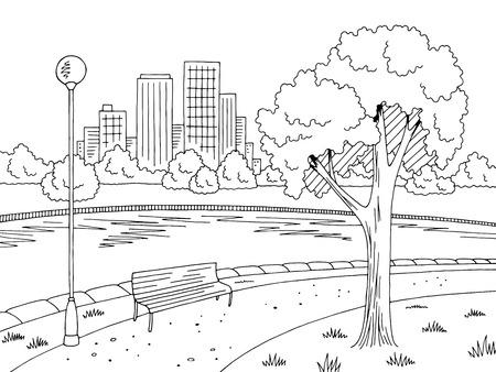 Park river graphic black white landscape sketch illustration vector  イラスト・ベクター素材