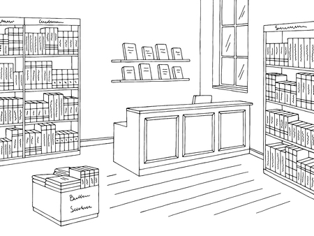 Book shop store interior sketch Illustration
