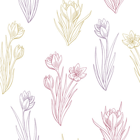 Saffron crocus flower graphic color seamless pattern sketch illustration vector