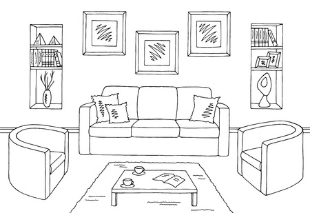 Living room graphic black white interior sketch illustration vector